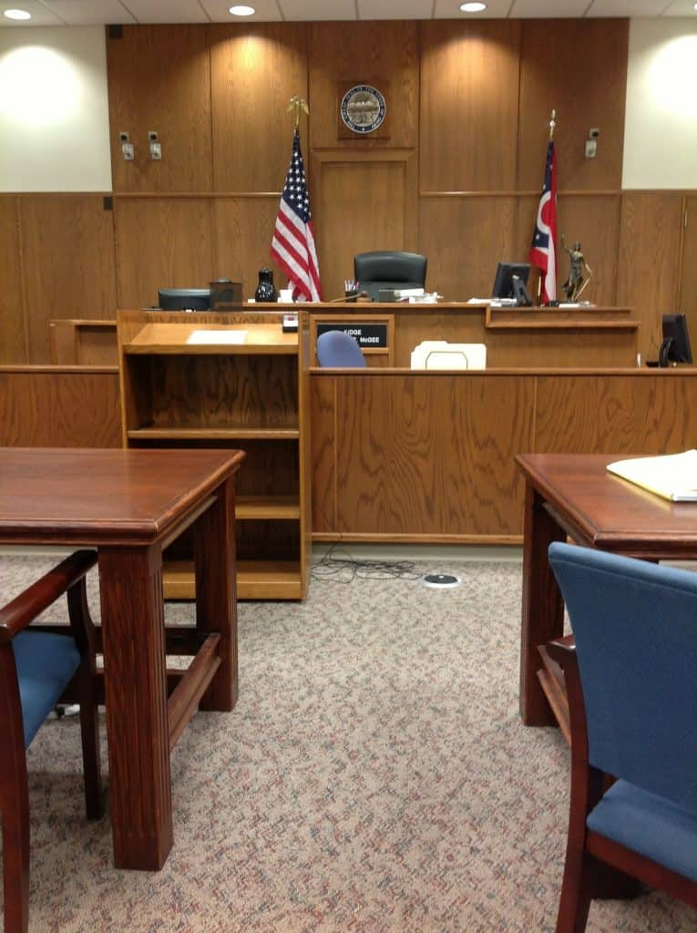 A courtroom where personal protection order is litigated.