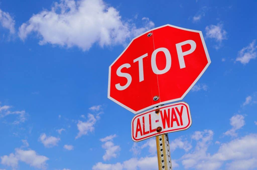 A stop sign. Failure to stop is a common traffic ticket.
